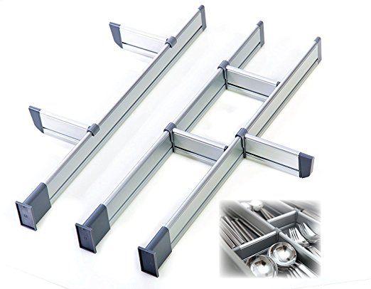 Verstellbarer SchubladenOrganizer Kche eleganter modularer Schubladeneinsatz aus Aluminium