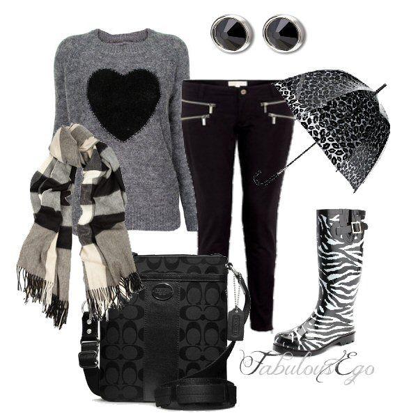 "Rainy Day ""Zebra Heart"" #clothes #umbrella #rainboots #coach by FabulousEgo <3"