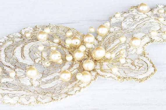 Wedding gold lace head piece.  GOLD lace hair vine. Bride to be lace hair piece. Wedding hair crown.  Affordable Bridal lace hair piece