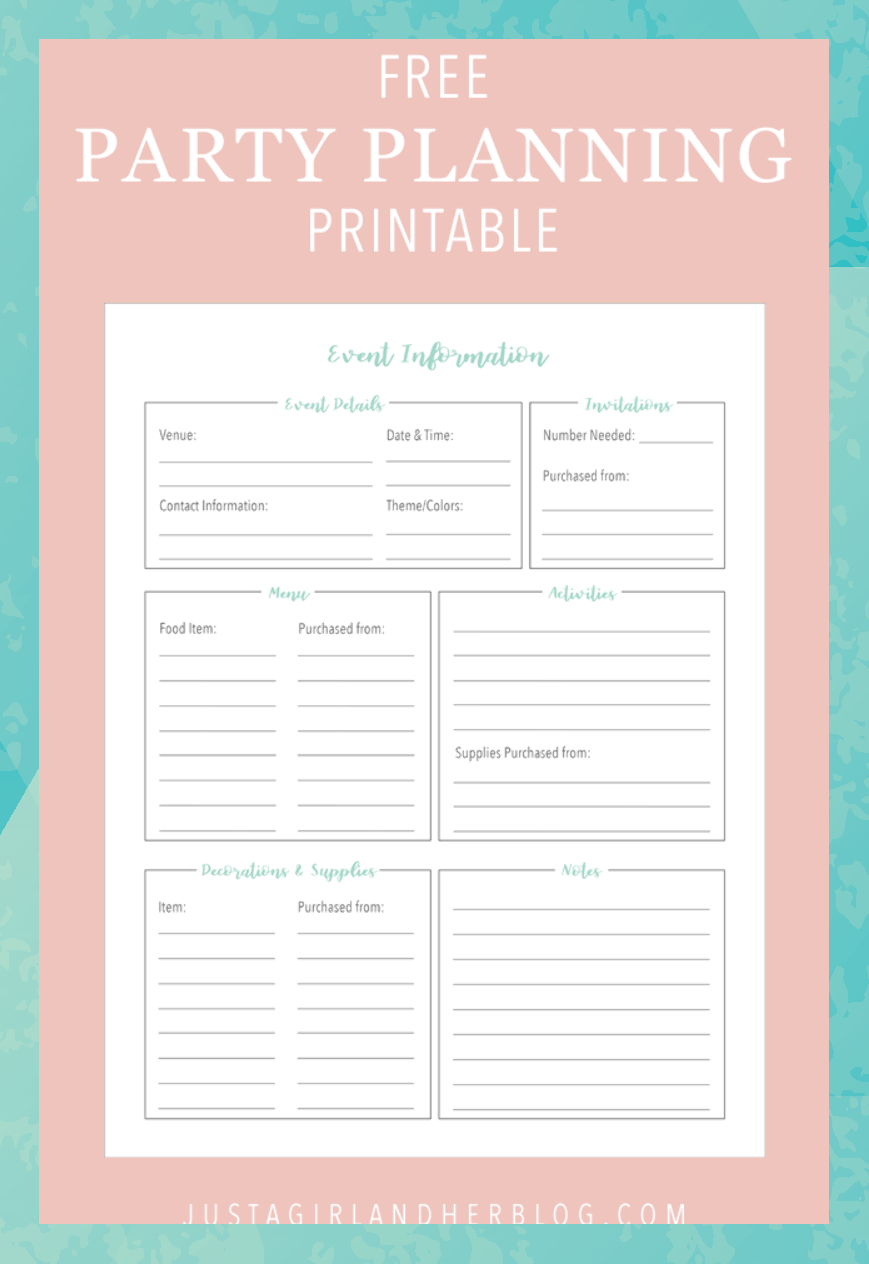 Organize your party planning with these pretty and free