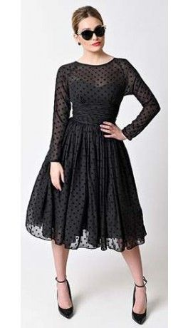 d1b78be5f0a Unique Vintage Black Dotted Long Sleeved Dita Swing Dress