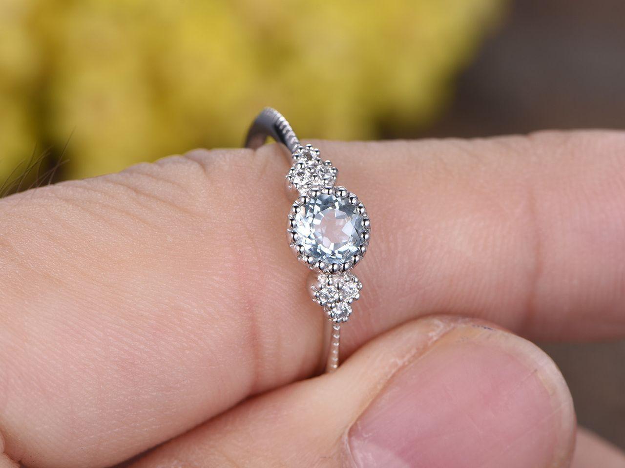 0.5 Carat Round Aquamarine Diamond Engagement Ring 14k White Gold ...