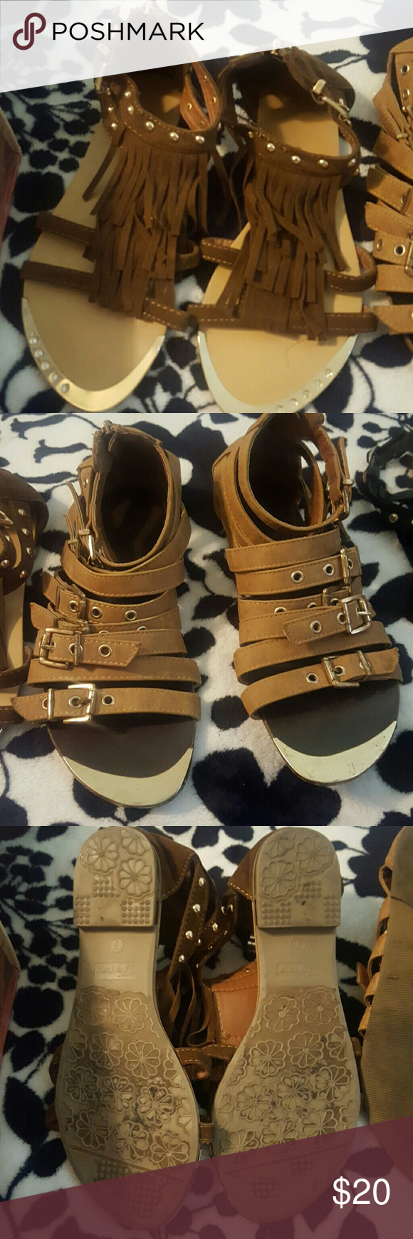 Fringe Gold Studded Gladiators ****Final Sale*** great condition.   ***10% off of 2 items or more*** Shoedazzle Shoes Sandals