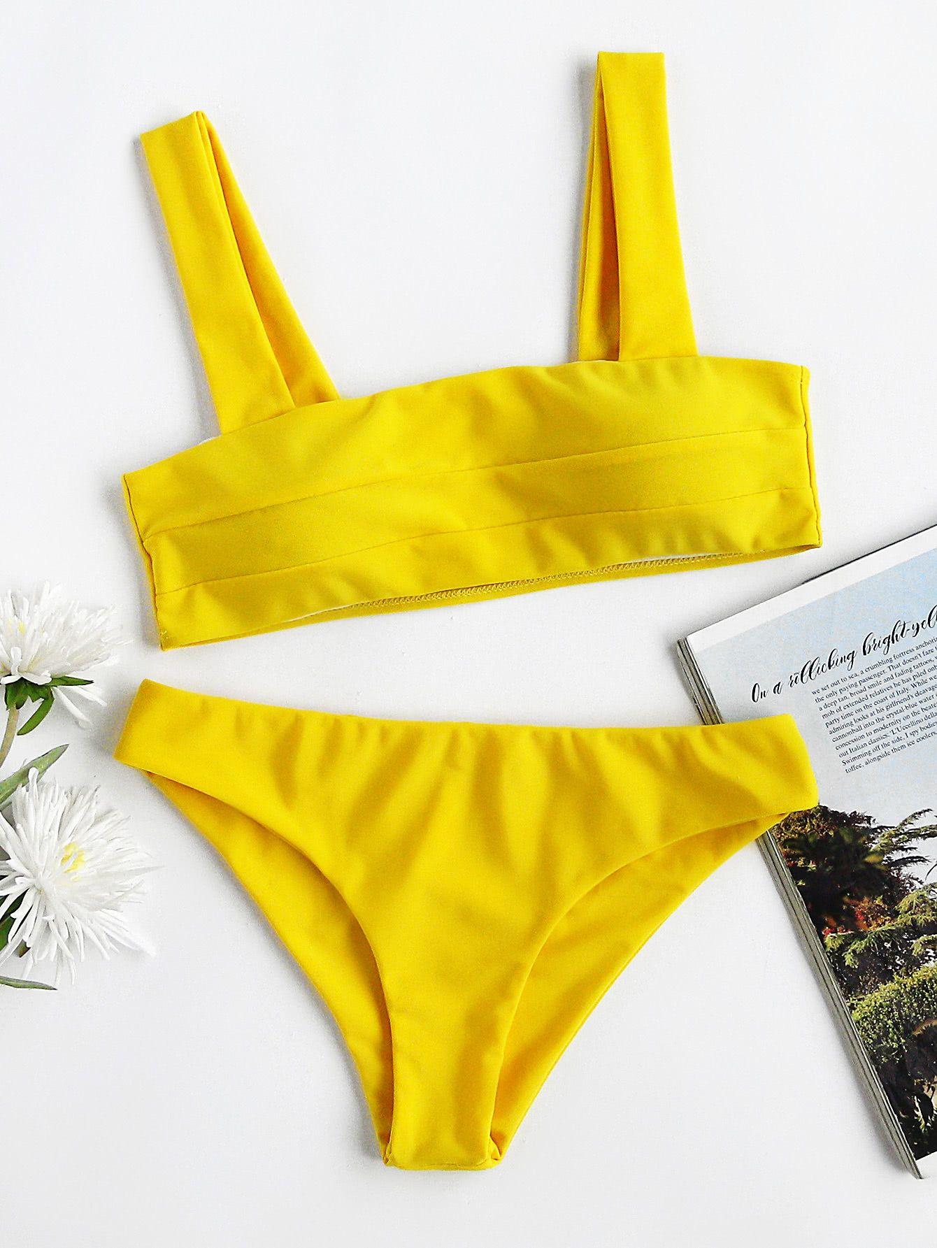 cbeda0348e Shop Wide Strap High Leg Bikini Set online. SheIn offers Wide Strap High  Leg Bikini Set   more to fit your fashionable needs.