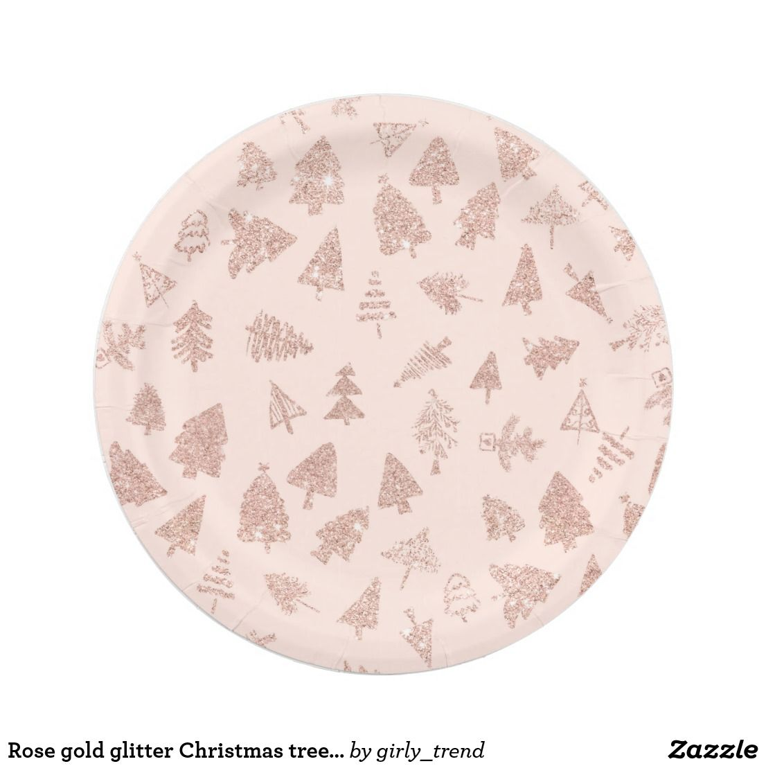 Rose Gold Glitter Christmas Tree Blush Pink Paper Plate Christmas Paper Plates Gold Glitter Christmas Plates