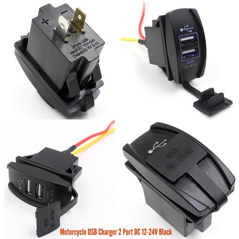 Motorcycle USB Charger 2 Port DC 12-24V Black