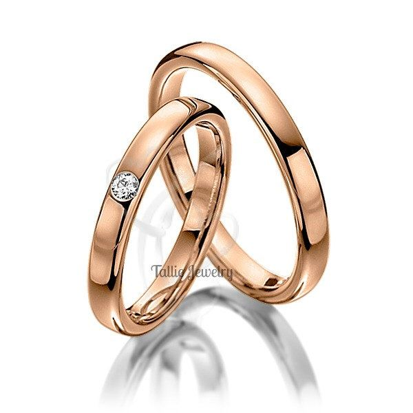 His Hers Wedding Rose Gold BandsDiamond RingsMatching RingsWomens RingsMens Bands By TallieJewelry On Etsy