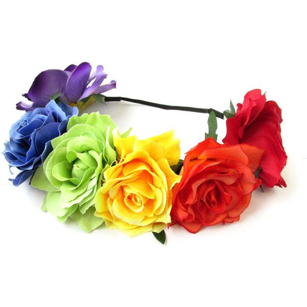 Large Rainbow Rose Flower Hair Crown Headband Festival Gold Big... ❤ liked on Polyvore featuring accessories, hair accessories, boho flower crown, braided headband, flower crown, gold crown headband and flower garland