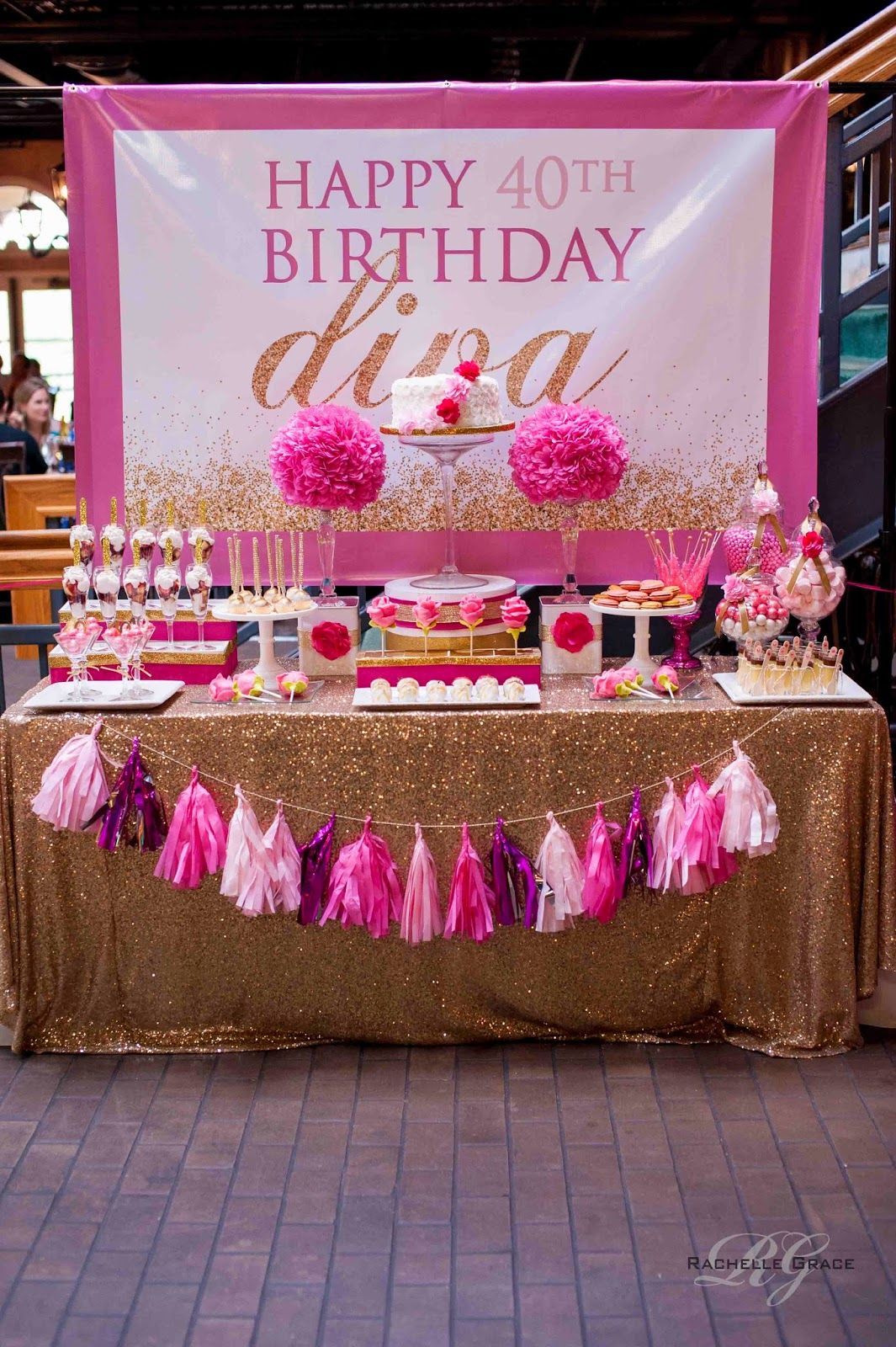 Create cook capture diva pink gold 40th birthday for 40th party decoration