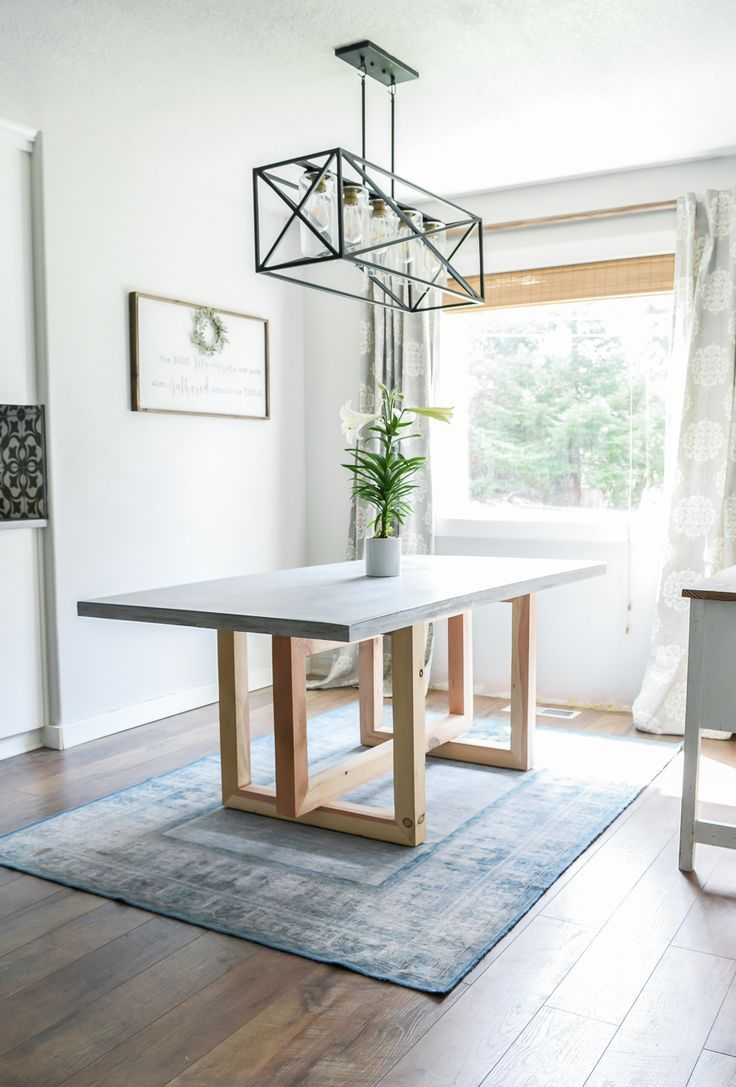 How To Make a DIY Concrete and Wood Dining Table #wood
