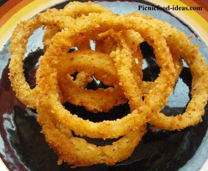 Onion Rings with Sesame Seeds  Preparation time: 10 minutes, cooking time: 10 minutes; yields a good batch of crispy rings.