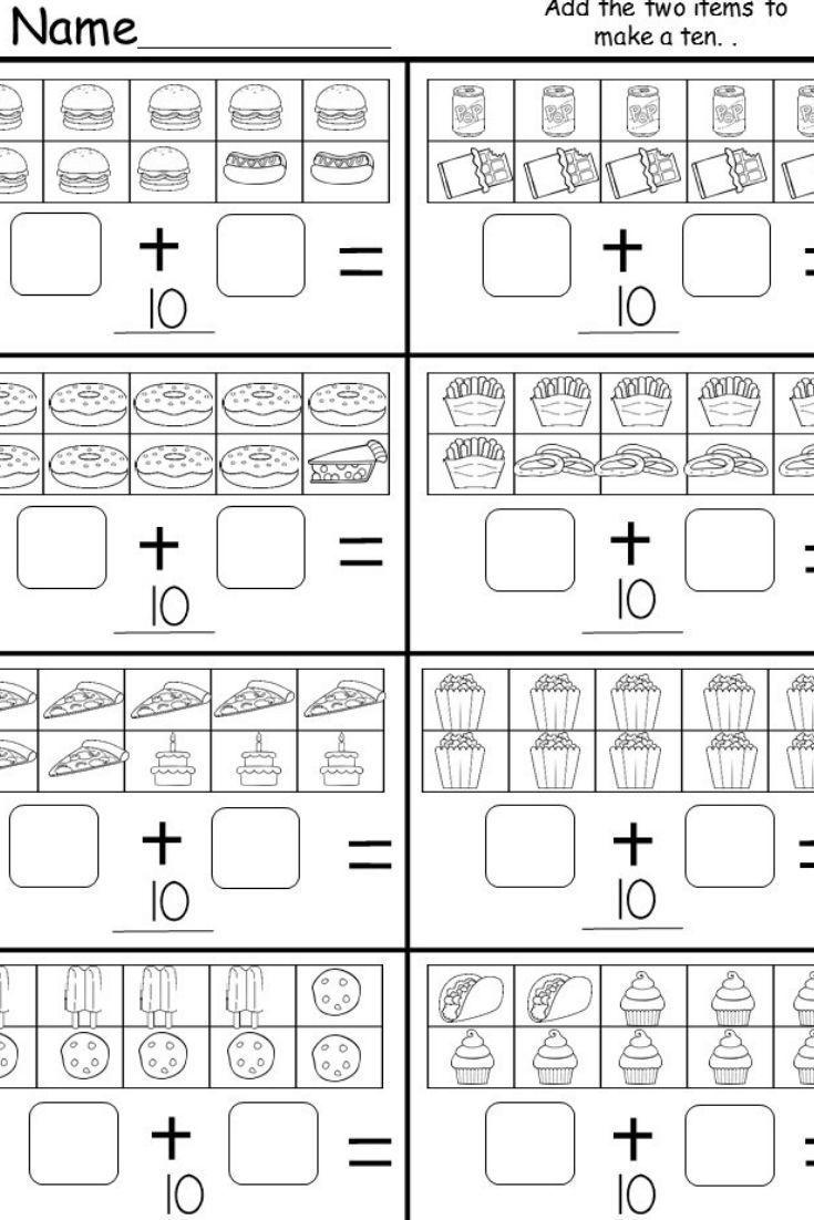 Kindergarten Addition To 10 Worksheets