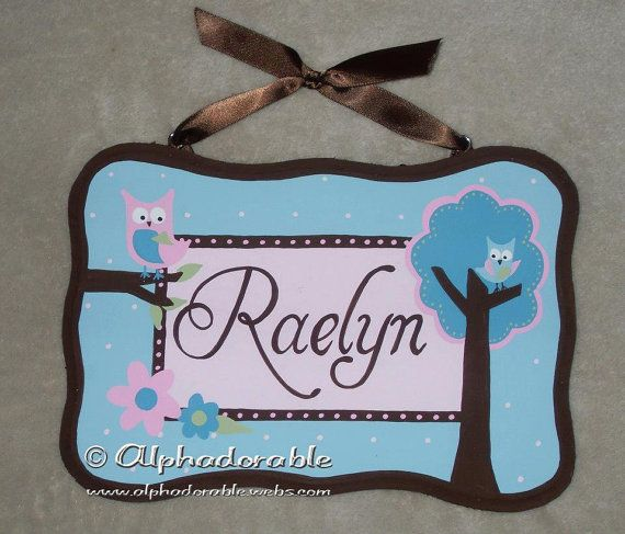 Aqua Pink And Brown Owl Custom Hand Painted Wooden Personalized Name Door Plaques For Nursery 6
