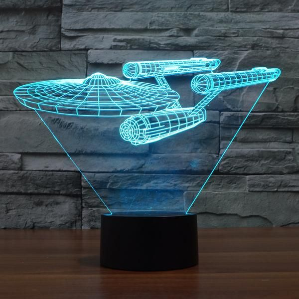 Star Trek Inspired Enterprise Ship 3d Optical Illusion Lamp 3d Led Night Light Star Trek Decor Led Night Lamp