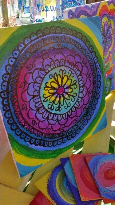 Cuadros pintados a mano sobre descartes de durlock #ArteSustentable