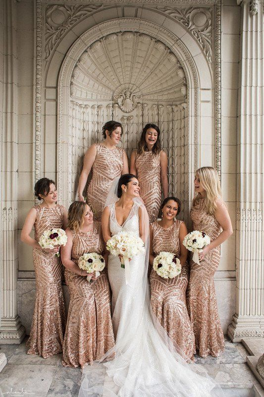 Glam Bridesmaid Dresses Long Rose Gold Sequin Bridesmaid Dresses