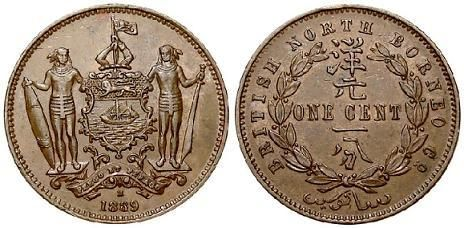 British North Borneo 1889 1 Cent Old Coin Collection Pinterest