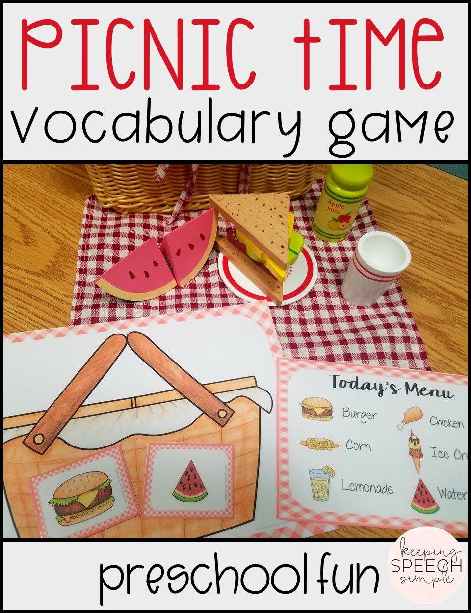 Vocabulary Games For Early Learners Picnic Themed Language Activities Preschool Preschool Activities Dramatic Play Preschool [ 1248 x 960 Pixel ]