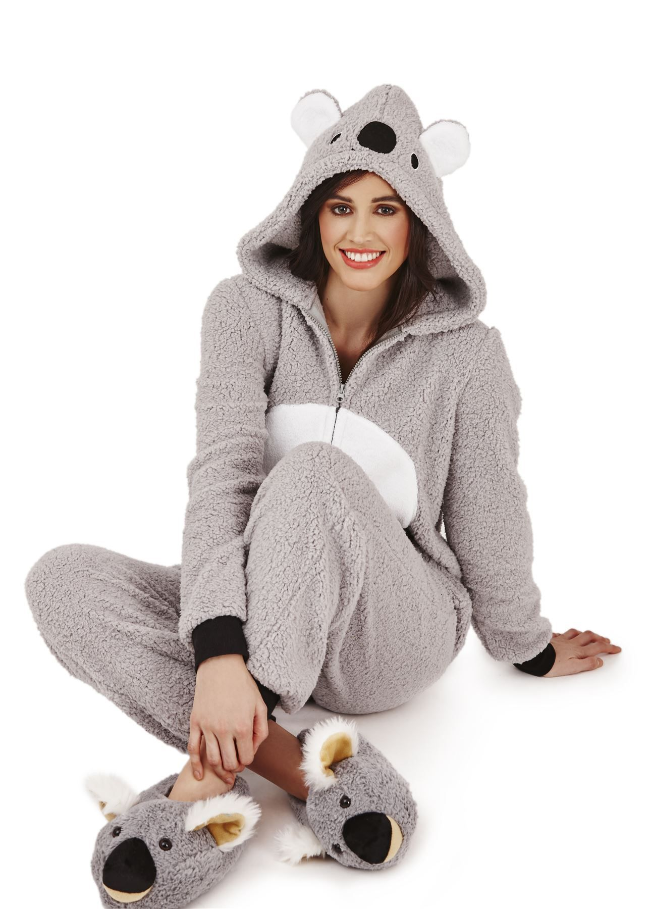 loungeable femmes animal adulte onesie combinaison koala ours teddy pyjama nightwear pyj. Black Bedroom Furniture Sets. Home Design Ideas