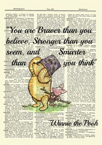 Photo of Winnie the Pooh Dictionary Art Print Picture Poster Classic Vintage Braver Quote  | eBay