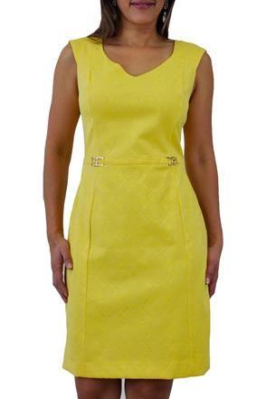 b2ab4b5e5839 Vestido Tubinho Jacquard amarelo Seiki @ ChicEElegante   Vestidos ...