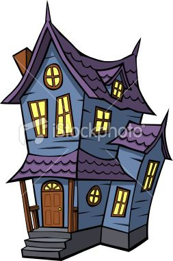 Cartoon images of haunted houses