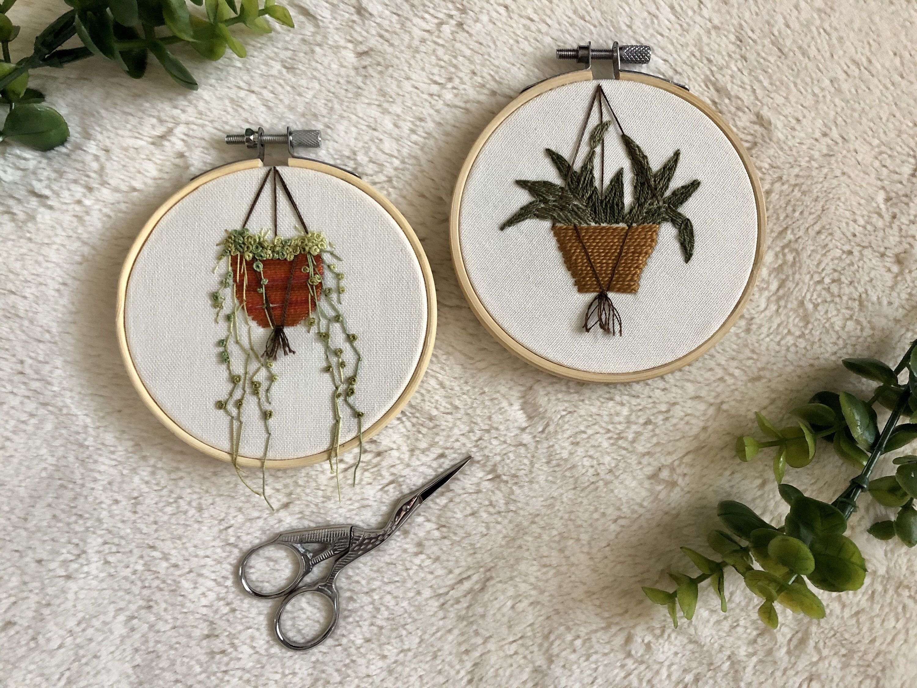 Embroidery Tiny House Plant Hoop Art Set of 2