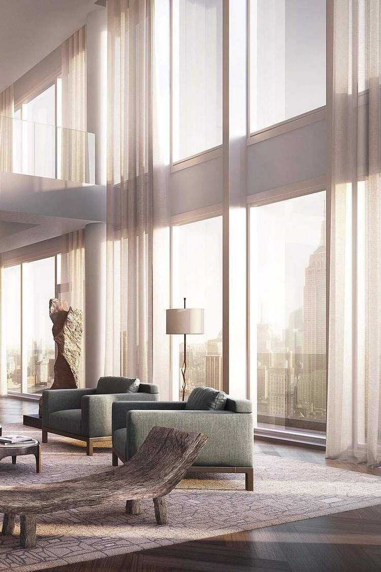Window coverings for 2 story windows  amazing new york penthouse  penthouses interiors and living rooms