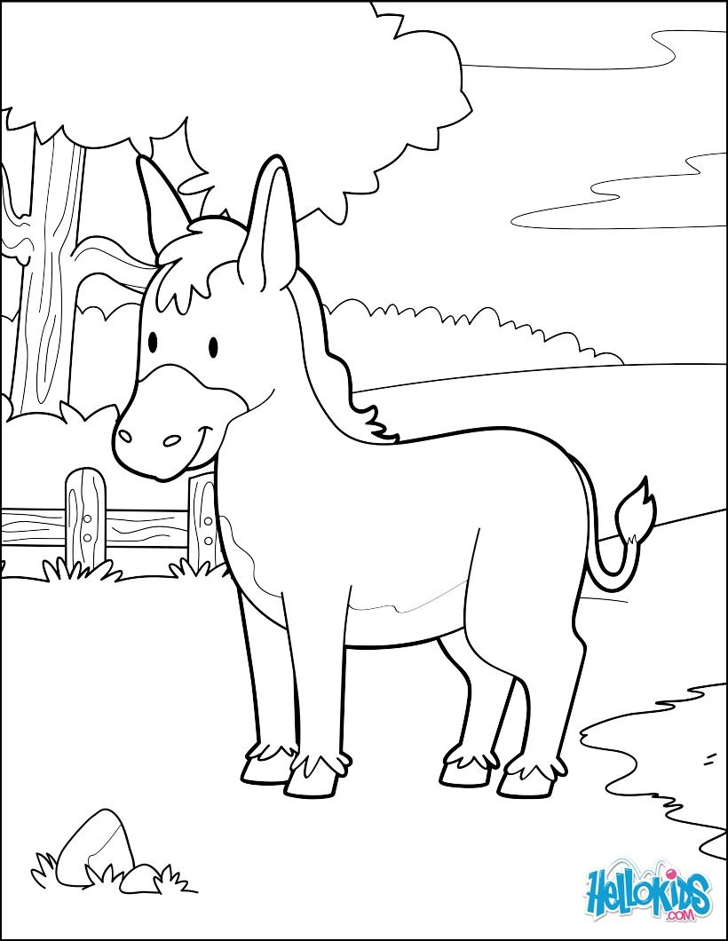 Donkey In The Forest coloring page. Cute and amazing farm animals ...