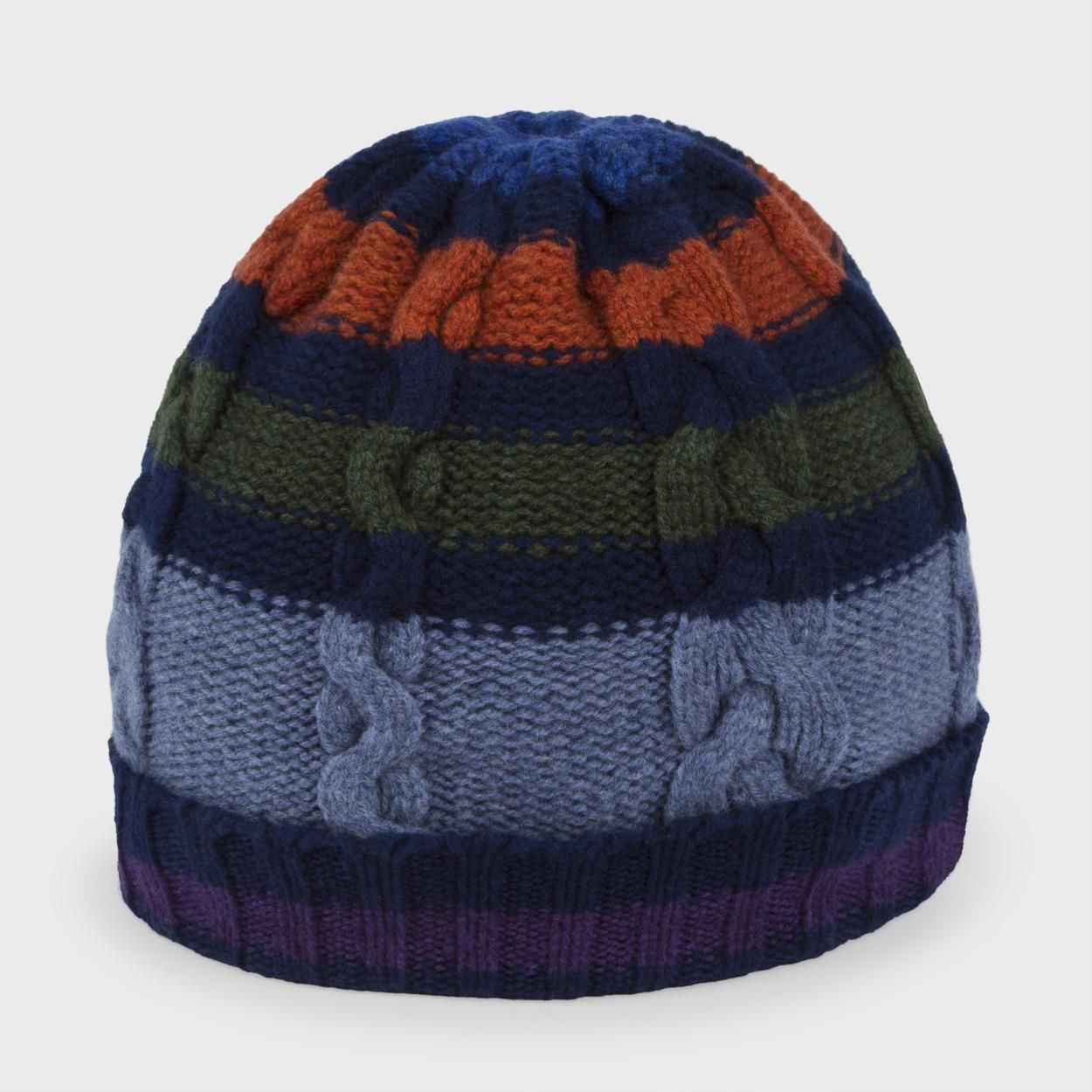 Paul Smith Men\'s Hats | Navy Striped Cable Knit Wool Beanie Hat | My ...