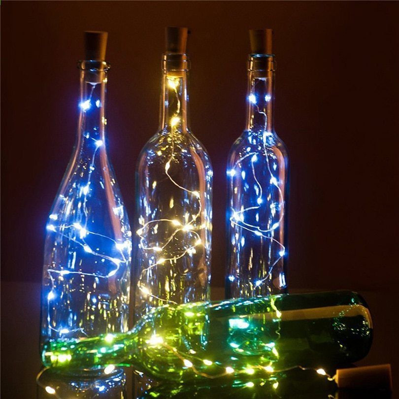 2m 20leds Vinflaske Cork Led String Lights Batteridrevet