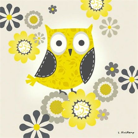 Yellow and Grey Owl Canvas Wall Art | Owl, Owl crafts and Decoupage