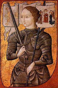 Juana de Arco, 1412-1431, santa y heroina francesa, combatió la frente de un ejército de cinco mil hombres. La apresaron y la acusaron de brujería. Fue declarada culpable y condenada a la hoguera. En 1920, Francia la proclamó su patrona.