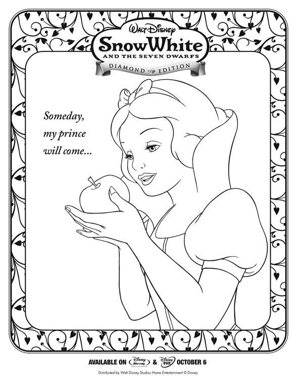 character coloring and activity pages snow white