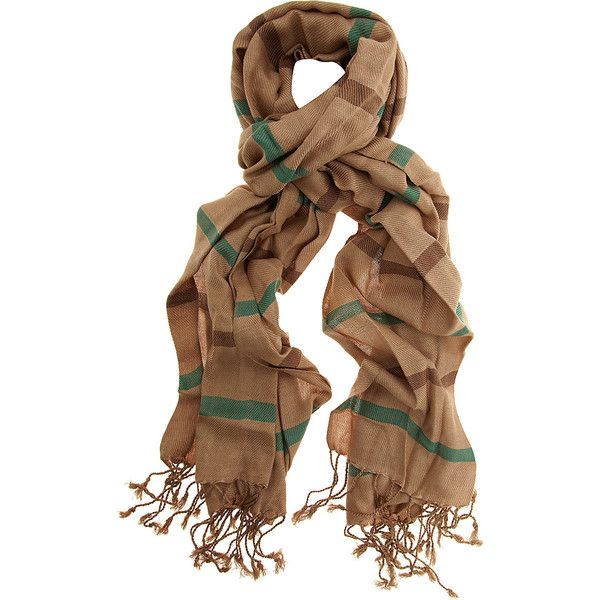 Light brown stripey scarf ($12) ❤ liked on Polyvore