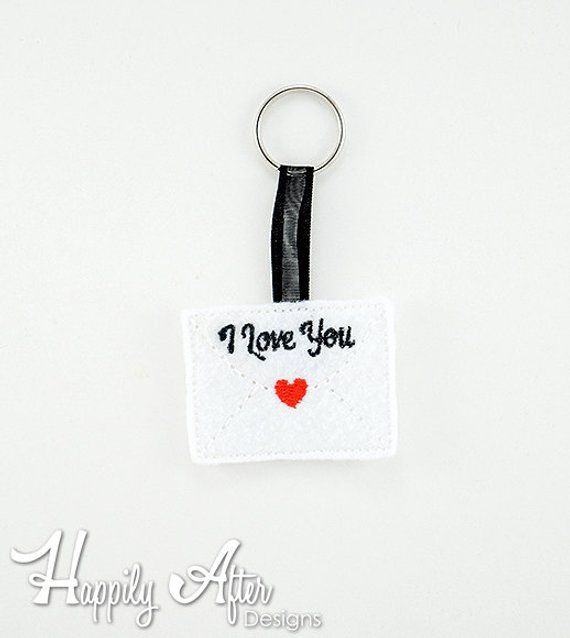 Love Letter Keychain Embroidery Design, love, keychain