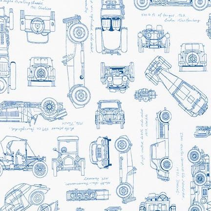 Vintage Car Fabric   Vintage Blueprints   Automobile Blueprint - new blueprint hair design