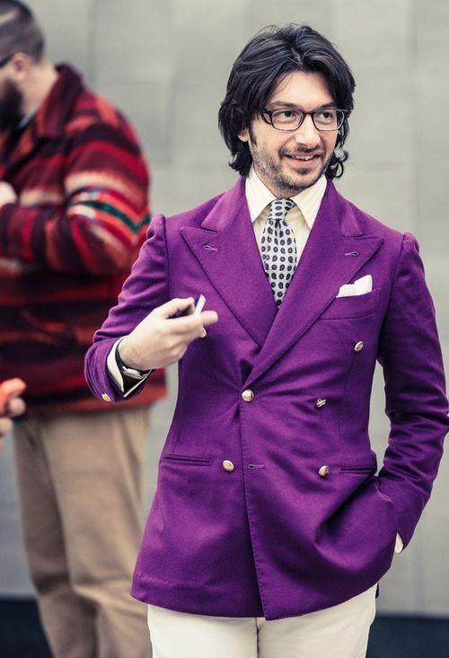 Men's Purple Double Breasted Blazer, Beige Vertical Striped Dress ...