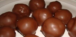 chocolate dipped rice krispie/peanut butter balls