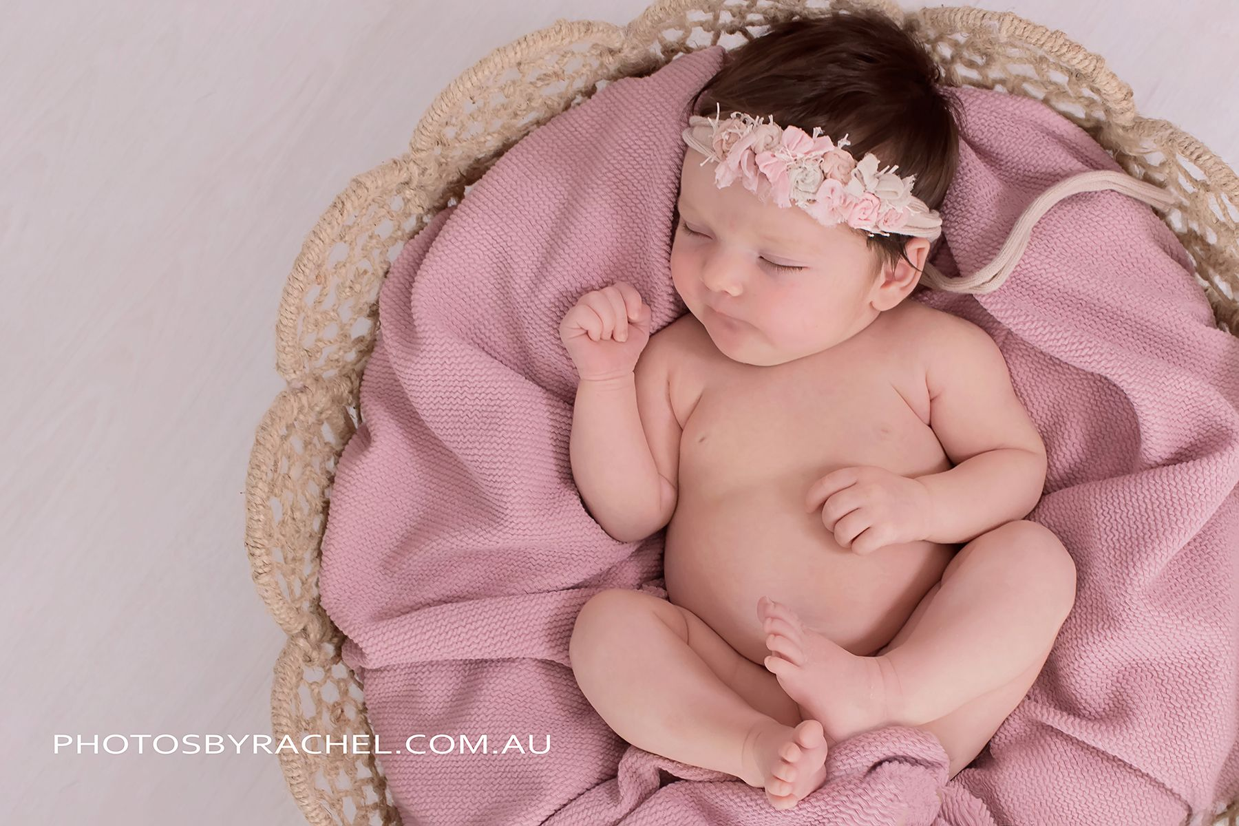 Newborn Photography Baby Girl In Dream Catcher Bowl In Rose Pink