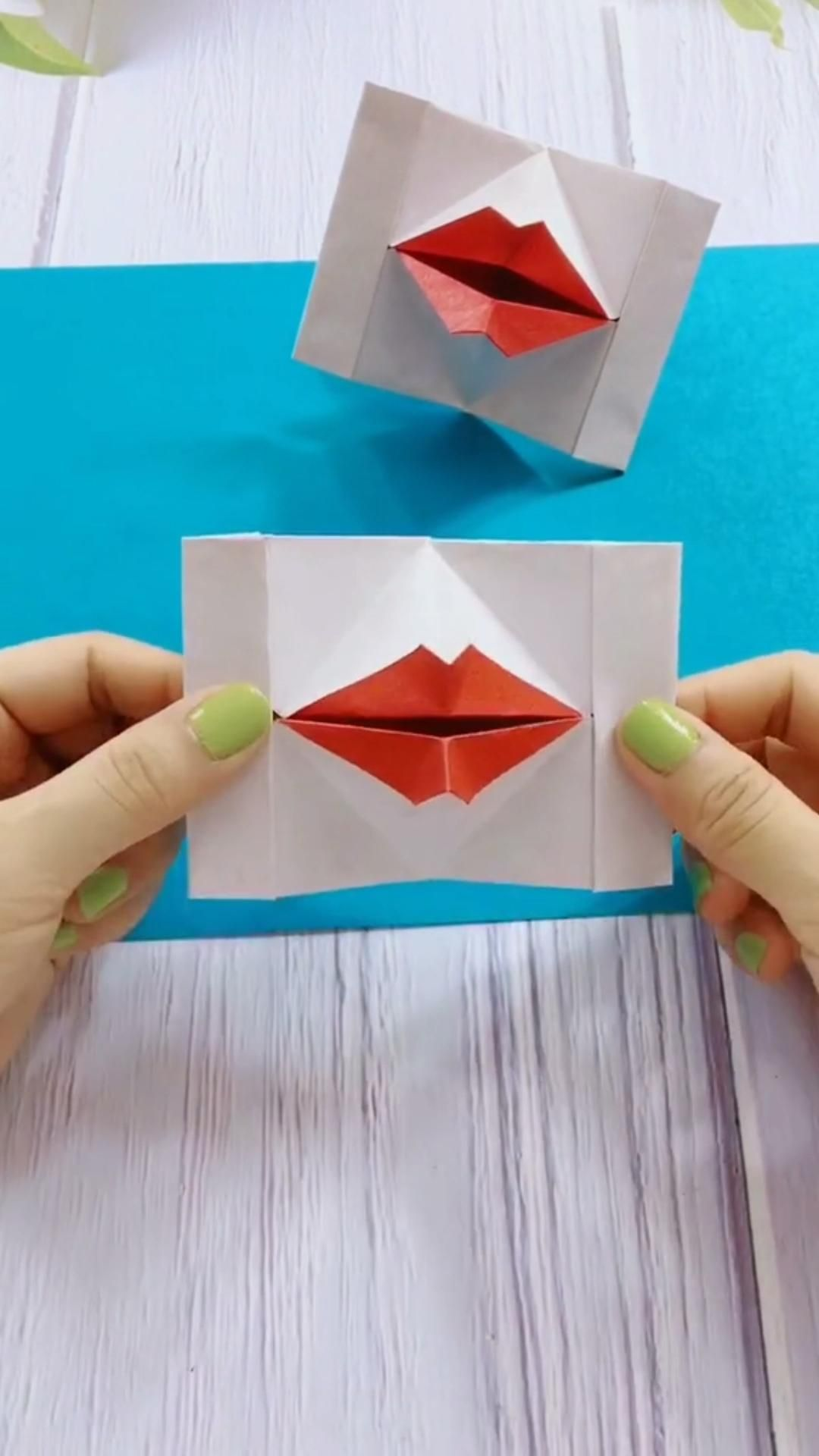 The 3D origami lips make a kissing motion as you open and close the card. It is great gift for Christmas, Valentine's Day, a birthday, or an anniversary. Just follow my step by step video.
