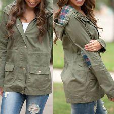 Women Casual Hooded Long Sleeve Jacket Blazer Trench Parka Outwear Coat