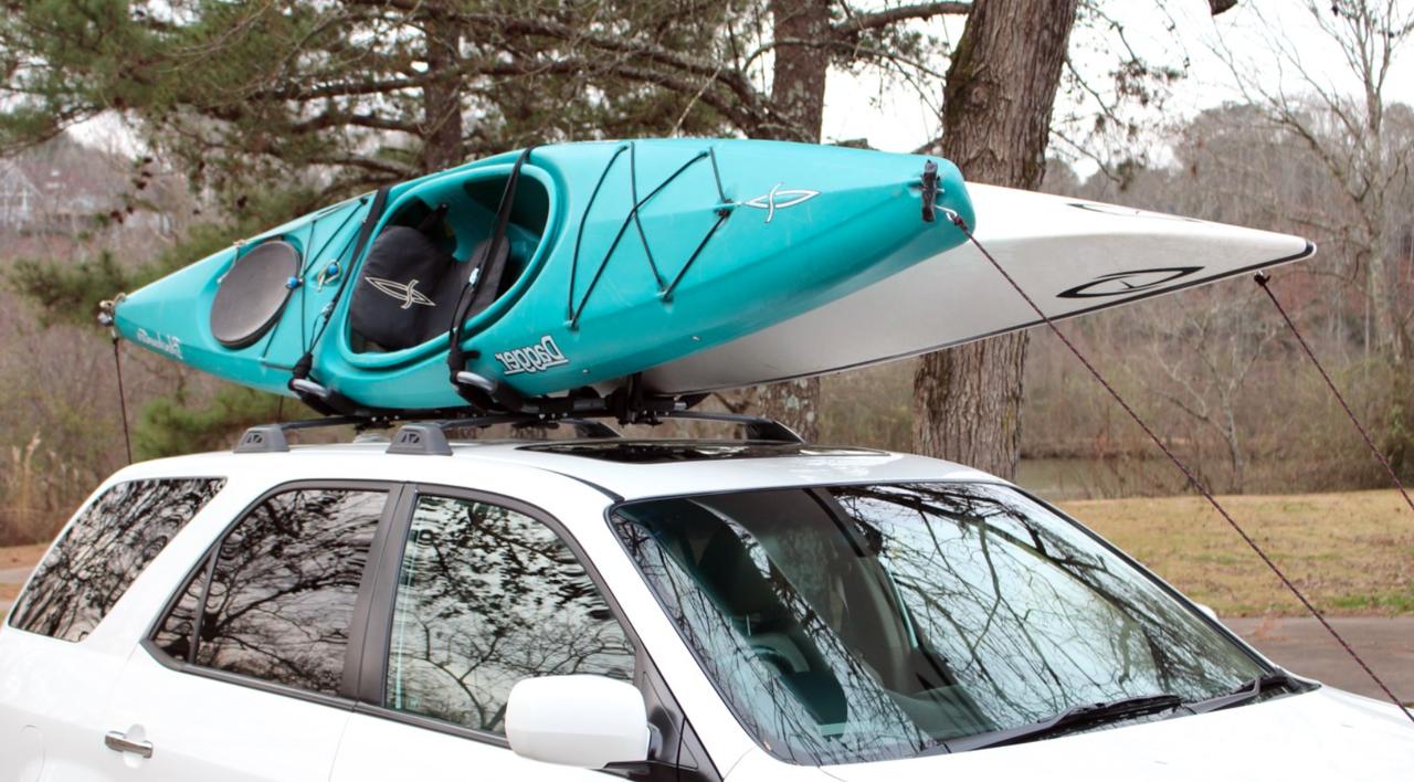 Double Kayak Rack Transport Both Kayaks At Once Kayaktransportation Storeyourboard Car Roof Racks Kayak Rack For Car Roof Rack