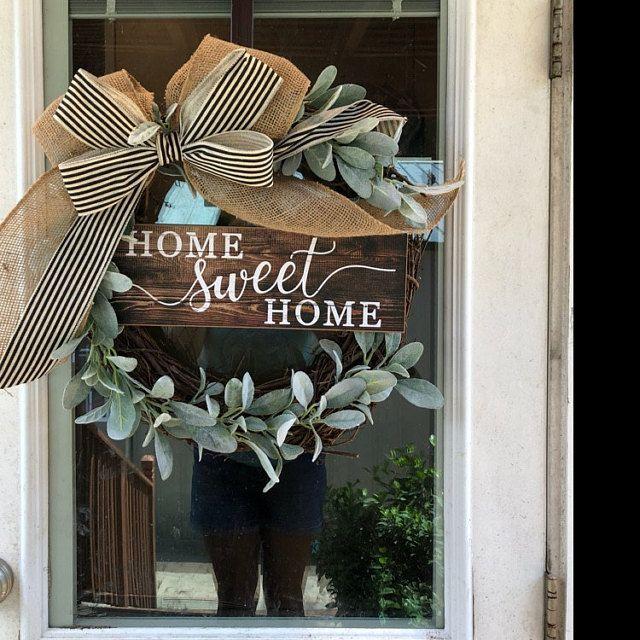 Photo of Farmhouse Wreath-Grapevine Wreath-Front Door Decor- Wreath with Lamb Ears- Farmhouse- Every D…