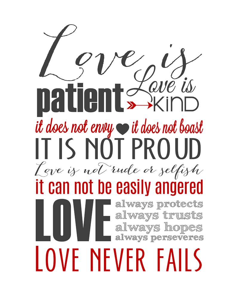 Wedding Reading Love Is Patient: Love Is Patient Subway Art Printable {1 Corinthians 13