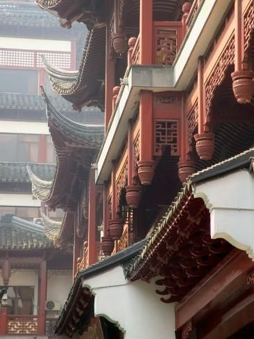 'Traditional Architecture with Upturned Eaves, Shanghai, China' Photographic Print - Keren Su | Art.com