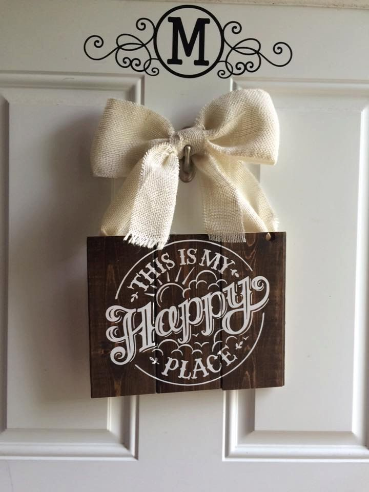 Rustic Happy Place sign by HappyGirlD on Etsy