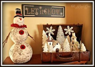 LOVE the Christmas vignette in a suitcase!!