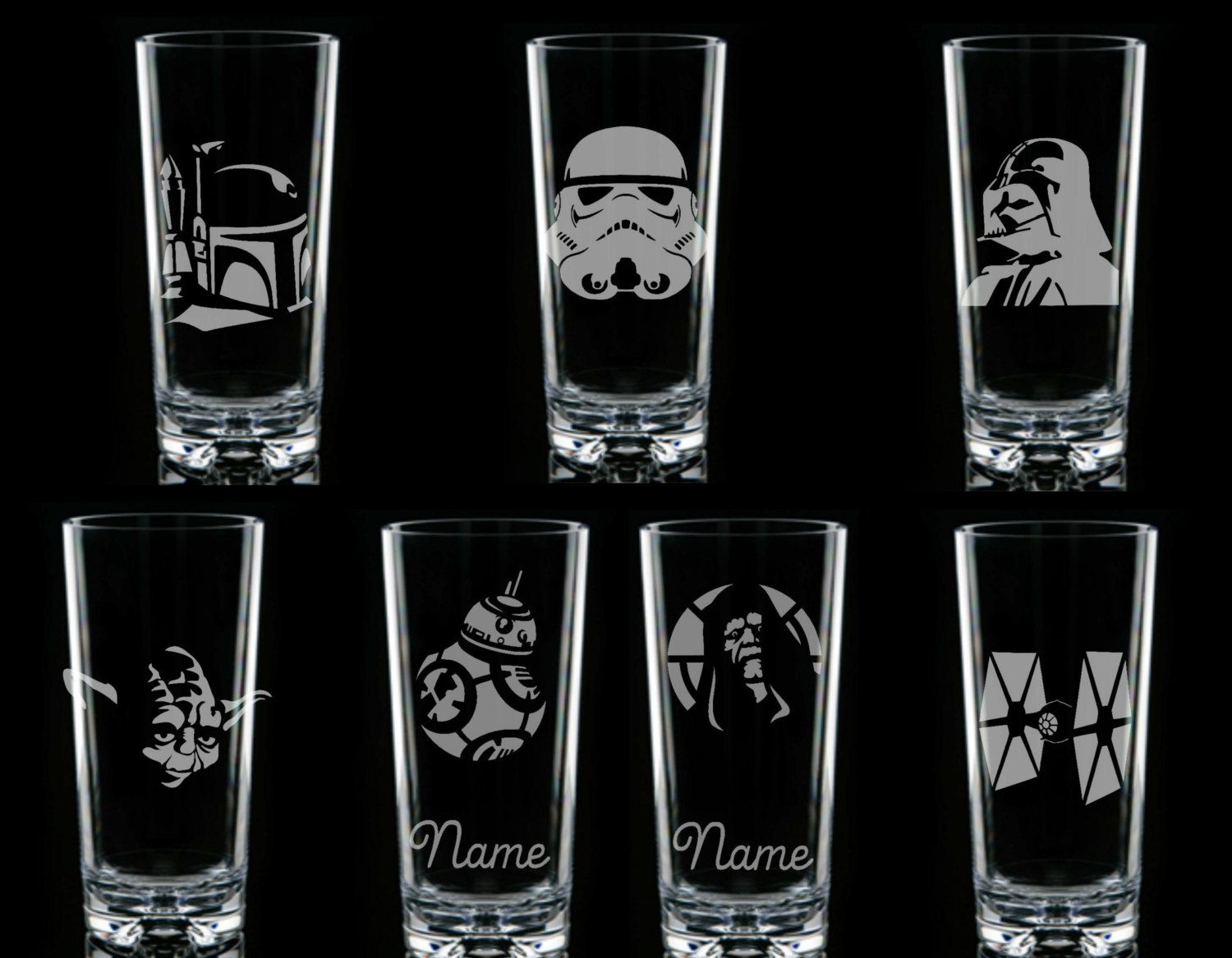 Star Wars Personalised Glass Etched Engraved Custom Boba Fett