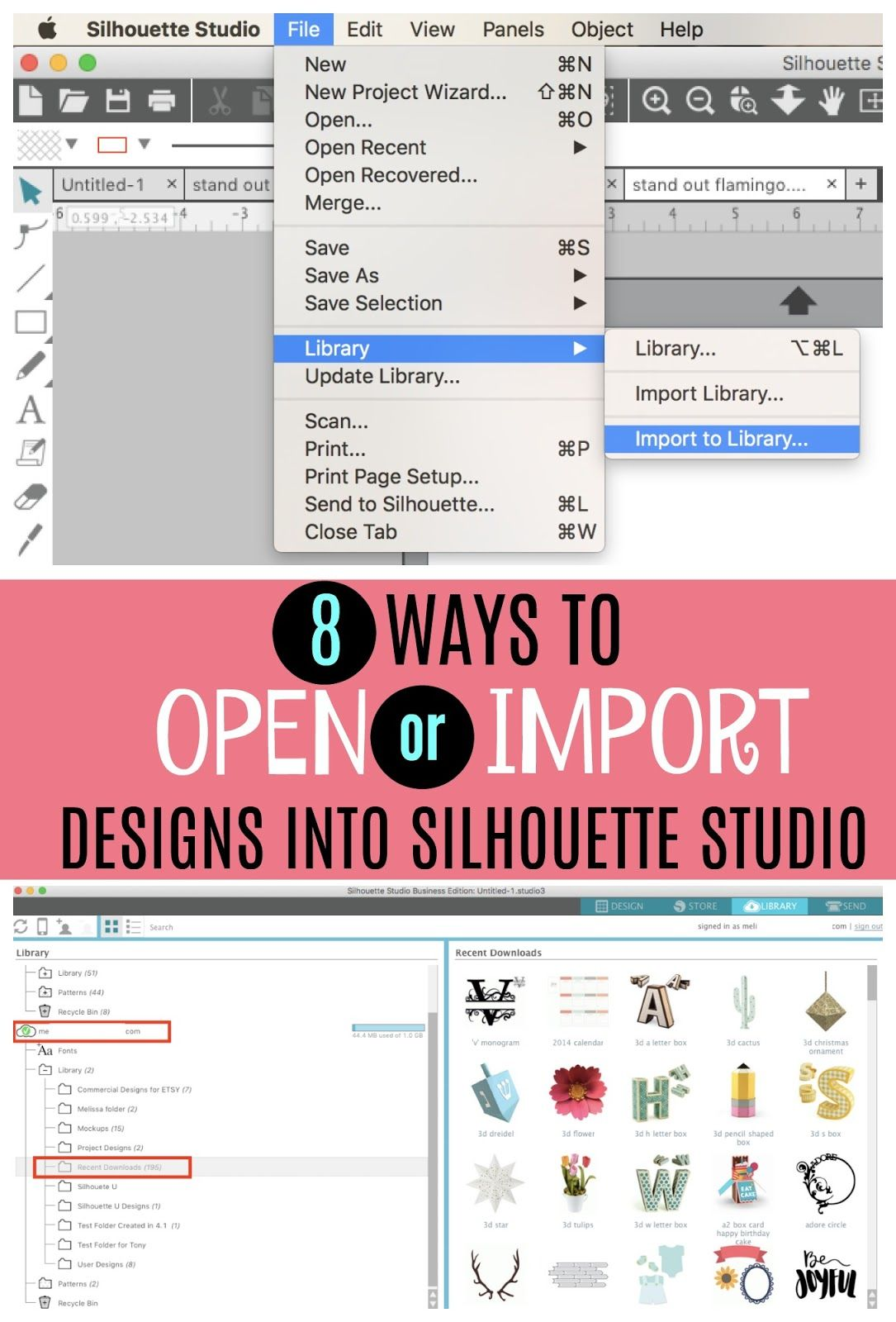 8 Ways to Import or Open Designs into Silhouette Studio